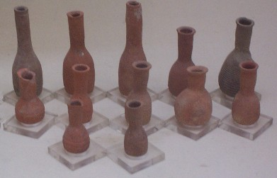 clay bottles for insence storage found in petra